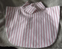 CORAL & WHITE Striped Mock Turtleneck Dickie-Man or Woman-Fits Most