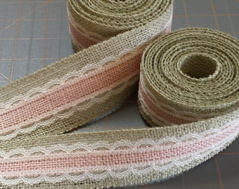 LAST CHANCE ~ Peach and Sage Burlap with Ivory Lace Ribbon