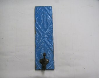 BLUE Tin Ceiling tile Coat Hat Rack New York Salvage 1 one Hook S2200-14