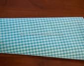 Adorable Turquoise Gingham- Vintage Fabric Juvenile Doll Making Tiny Checks