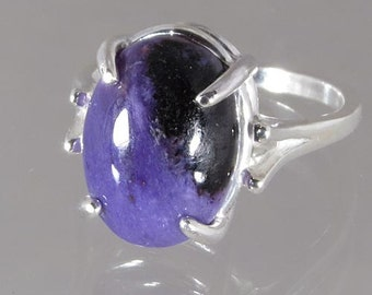 Natural Charoite 5.79 carats Handset in .925 Sterling Silver Ring    NOW on SALE  -  Fast Free  Shipping with gift wrap