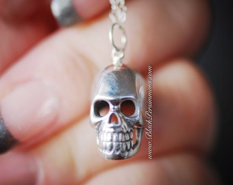 Skull Necklace - Solid Sterling Silver Pendant - Free Domestic Shipping + Free Insurance Worldwide