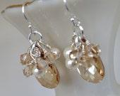 Bridal earrings, pearl and Swarovski crystal cluster earrings, silver and cream earrings, sterling silver earwires