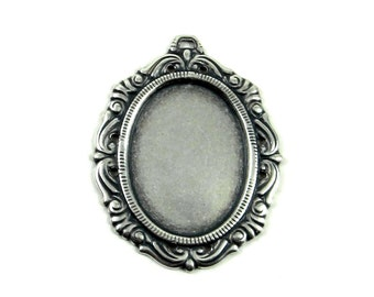 18x25mm Cameo Setting - 1 Piece - Antiqued Sterling Silver Plated