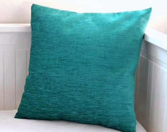 blue teal chenille cushion cover, plain accent decorative pillow cover 14 inch, oblong lumbar covers