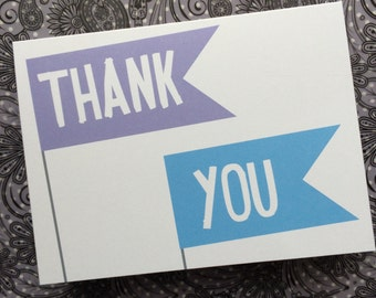 Purple and Blue Flag THANK YOU card