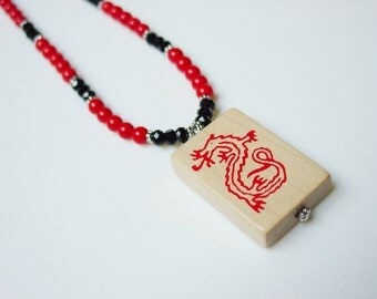 Mah Jong Necklace / Red Dragon / Red Coral / Vintage Tile / Boxwood Tile / American / Black Crystal / OOAK / Fun Gift / Jewish / Asian