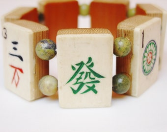 Mah Jong Bracelet / Vintage / Bone & Bamboo / Dovetailed / Handcarved / Gift / Jewelry / Asian / Jewish / Judaica / Jewish Gift / Asian Gift