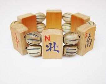 Mah Jong Bracelet / Bamboo / Hand-carved / Mah-Jong / Mahjong / Mahjongg / Mah Jongg / Ma Jongg / Majongg / Bracelet / Winds / Dragons / Fun