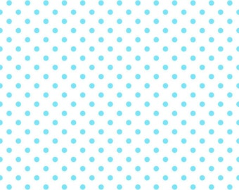 Aqua small dots on white 1 yard cotton lycra knit NEW