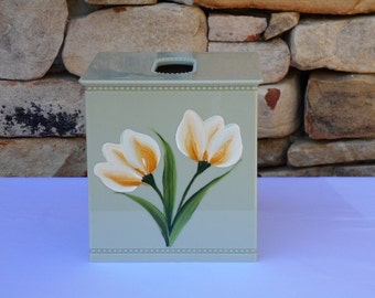 Tissue Box Cover with Springtime Yellow Crocus