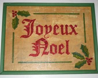 Altered Art Christmas Sign in Vintage Frame - Joyeux Noel