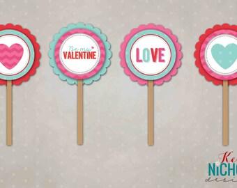 Valentine Cupcake Topper, Printable, Favor Tags, Instant Download, 4 Designs