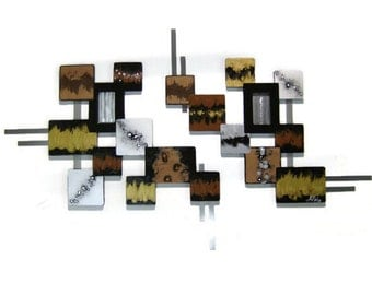 Unique & Stylish Contemporary Modern  Geometric Abstract Wall Sculpture, wood w/ metal wall hangings, set of 2 square- 52x30 handmade by DAS