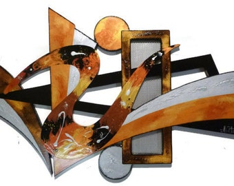 Textured Utopia Wall Sculpture-Stylish Contemporary Modern wall hanging, wooden Abstract Wall art, unique wood with Metal  3' X 2' by DAS