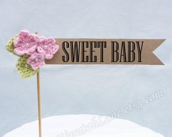 Crochet pattern, flowers, leaves, baby shower, cake topper with, digital banner, hello baby, sweet, shabby, tutorial, flag, kraft, girl