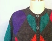 Vintage Grey Cardigan Green Blue Red Orange Liz Claiborne Multicolor Knit Chunky size S M