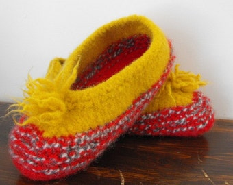 Womens Hand Knit Wool Felted Slippers for Cottage Home Travel