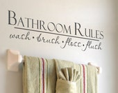"Bathroom Wall Decal ""Bathroom Rules- Wash, Brush, Floss, Flush Vinyl Lettering Bathroom Wall Decor Wall Sticker Sign"