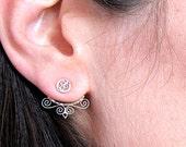 Silver Mexican Filigree Earrings, Ear Jacket Earrings, Subtle Elegant Silver Ear Jackets