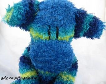 Sockimamy Curtis a blue, turquoise, and lime striped furry sock monkey, hand stitched, retro, boy monkey, plushie, baby safe, nursery gift
