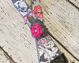 DSLR Camera Strap, Patchwork and Flower Detail with Quick Release Buckles - Pink Pop