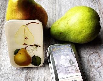 Gift tin, SMALL pill box, Vintage pear