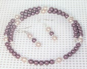 Swarovski Pearl Bridal Jewelry - Necklace and Earring Set - Shown in Almond and Burgundy - Any Color - Bride, Bridesmaid, Maid of Honor