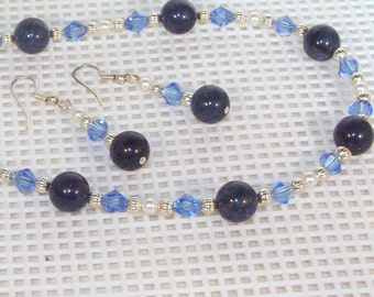 Gemstone and Swarovski Pearls and Crystal Jewelry - Dumortierite and Pearls Necklace & Earrings