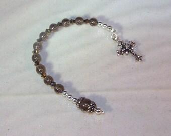 Gemstone and Swarovski Crystal Pocket Rosary - Smoky Quartz & Dorado Swarovski Crystals - Choose your Cross/Crucifix - Catholic or Anglican