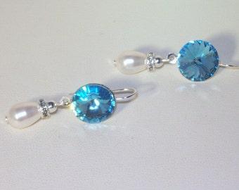 Swarovski Pearl & Crystal Earrings -  Rivolis - Silver Findings