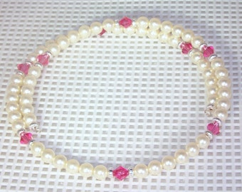Swarovski & Crystal Pearl Bridal / Prom Necklace -  Ivory and Indian Pink - Made to Order - Any Colors - Bridesmaids, Jr Bridesmaids