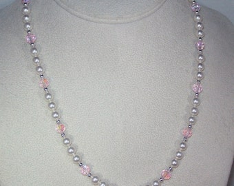 Swarovski Pearl and Crystal Jewelry - Bridal Necklace - Bridesmaid Necklace - Any Color - Shown in Lt Rose AB