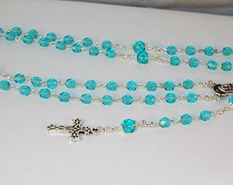 Czech Crystal & Silver Rosary - Catholic, Jewish, Anglican - Made to Order