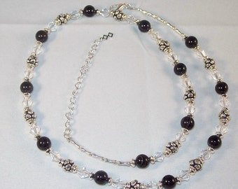 Gemstone, Swarovski Crystal Sterling Silver Jewelry - Black Agate and Swarovski Crystal Necklace