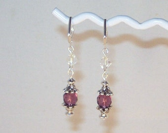 Swarovski Crystal Earrings - SHown in Amethyst - Available in All Colors