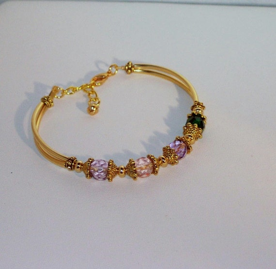 Swarovski Crystal Mother or Grandmother's Bragging Bracelet - Pattern in Gold