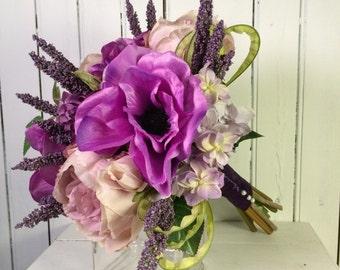 Bridal Bouquet, Bridesmaid Bouquet, Wedding Flowers, Purple Wedding Bouquet