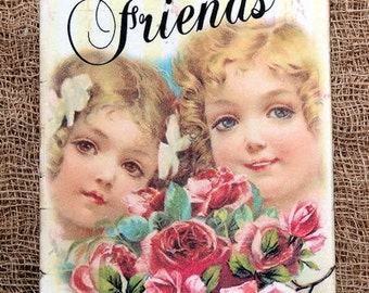 Little Girl Friends Floral Tags or Magnet #672