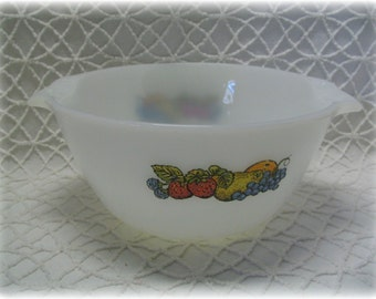 Anchor Hocking Fire King Cinderella bowl Natures Bounty Fruits Mixing Bowl