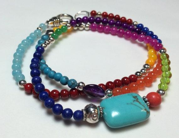 items similar to colorful gemstone wrap bracelet on