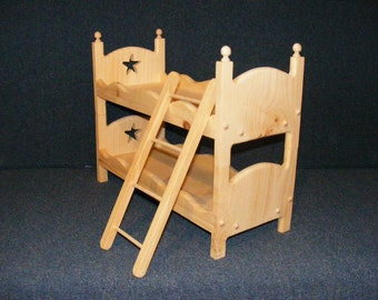 Wooden Doll Bunk Bed Set with Ladder and Star Cut Outs