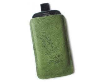 Phone mobile sleeve green leather squirrel case