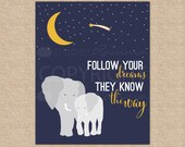 Baby Elephant Art, Follow Your Dreams, Modern Animal Nursery, Children's Bedroom Decor // Choose Art Print or Canvas // N-XF10-1PS AA1