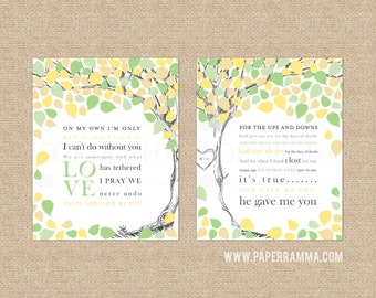 Wedding Song Lyric Art, Wedding Tree Guestbook, Paper Anniversary Gift, Wedding Vow Keepsake // Choose Art Print or Canvas // W-T06-2PS HH5