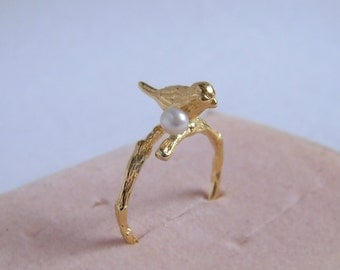 Gold Bird Ring, White Freshwater Pearl, Golden Branch Open Band Ring, Or Silver