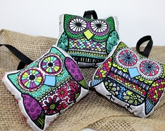 Fabric Owl Ornaments SET OF THREE different styles, whimsicle