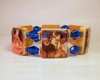 St. Christopher Jewelry / SCRABBLE BRACELET / Spiritual Unusual Gifts / Patron Saint / Travel