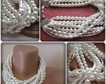 Wedding  Bold Bridal  Handmade necklace, chunky layered. Swarovski crystal - glass pearl    pendant