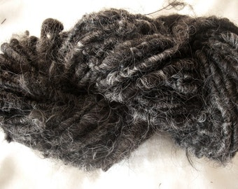Handspun  Corespun Shaggy Icelandic Wool Art Yarn in Natural Black and Silver by KnoxFarmFiber for Knit Weave Embellishment
